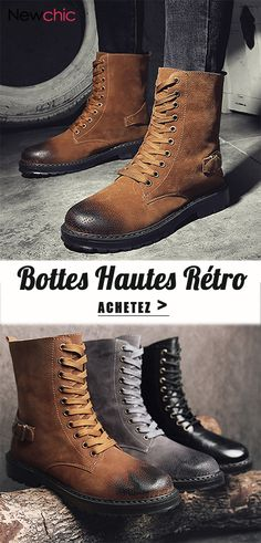 Men Retro Leather High Top Slip Resistant Wearable Casual Boots is  fashionable 7fa3e9efc8bc