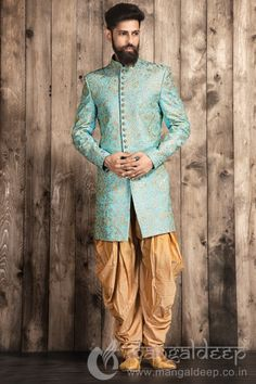 Buy Mangaldeep Sky Blue Terry Rayon Indo Western Sherwani online in India at best price.p Be the center of attraction in wedding function by wearing this Terry rayon fabric Sky Blue coloured Mens Indian Wear, Indian Groom Wear, Indian Men Fashion, Mens Fashion Wear, Men's Fashion, Engagement Dress For Groom, Couple Wedding Dress, Wedding Dresses Men Indian, Wedding Wear