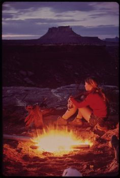 Camping in The Maze, Canyonlands NP. A nice retro photo from the 70s.