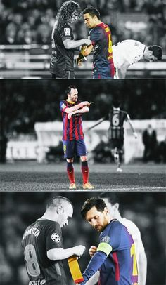 pretty nice 615fe cd041 End of an era at FC Barcelona Puyol Xavi Iniesta Messi FCB Barça Xavi  Barcelona,