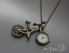 Want! -- Antique Bike pocket watch, antique bass bicycle necklace (NNWB-003)