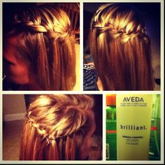 All around waterfall braid with the help of some Aveda product :)