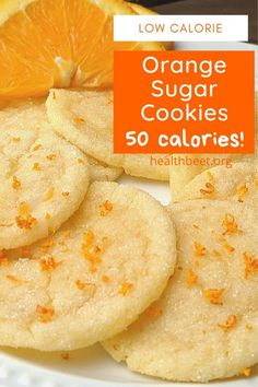 These orange sugar cookies are made with light butter, and orange juice concentrate. You can still eat cookies and not stall your weight loss efforts. Low Calorie Sweets, Low Calorie Cookies, Low Calorie Baking, Low Calorie Vegan, Low Calorie Dinners, Cookie Calories, No Calorie Foods, Healthy Cookies, Low Calorie Recipes