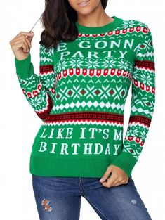 Christmas Letter and Snowflake Jacquard Sweater - GREEN 2XL 7c37d7de3