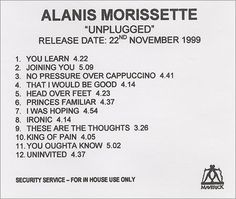 For Sale - Alanis Morissette Unplugged UK Promo  CD-R acetate - See this and 250,000 other rare & vintage vinyl records, singles, LPs & CDs at http://991.com