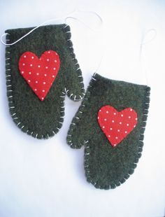 Wool Hand-stitched Mitten Ornaments
