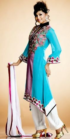 """Pakistani A Line Dresses Collection By (UK) """"Andaaz Online: Salwar kameez section.Pakistani Designer has introduced the A-line Shirts trend with new ex"""