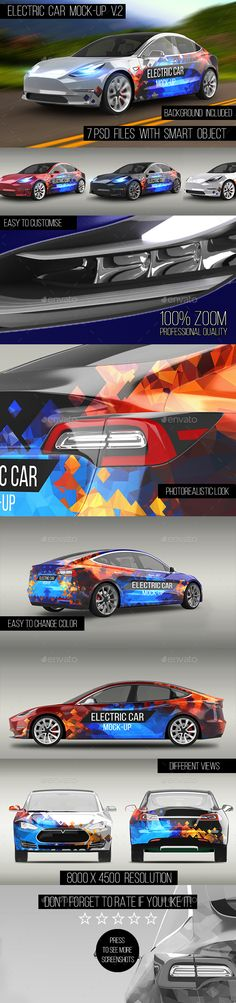 #Electric Car #Mock-Up V.2 - Vehicle Wraps Print Download here: https://graphicriver.net/item/electric-car-mockup-v2/20302798?ref=alena994