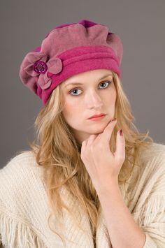Béret hiver raipons ROSE et FUCHSIA en polaire : Chapeau, bonnet par lydie-creation