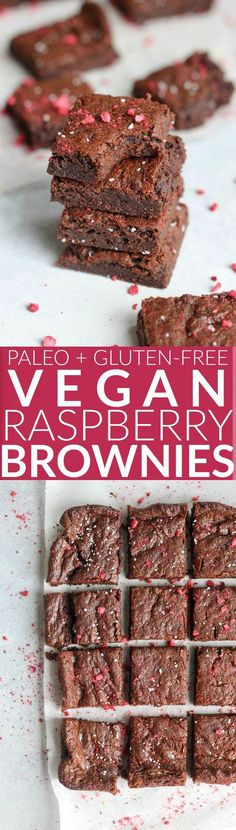 These decadent flourless Fudgy Raspberry Almond Butter Brownies are rich, chewy, and EASY to make! Only 8 ingredients. Vegan, gluten-free, and paleo-friendly.