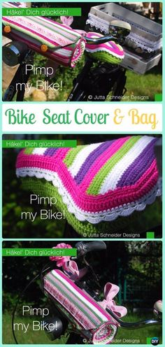 Crochet Bike Seat Cover and Bag Idea - Crochet Bicycle Fashion Patterns