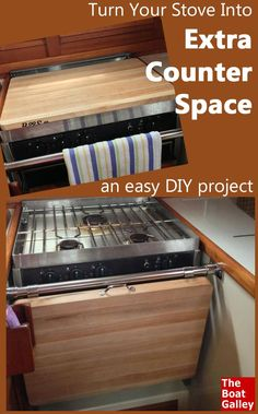 Two ideas for making your own removable counter top to go over the stove when it's not in use -- and both are fairly easy DIY projects! via @TheBoatGalley