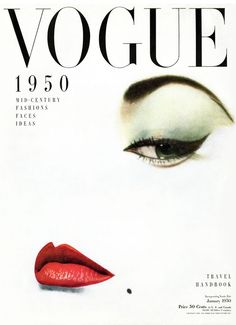 Jean Patchett (1926-2002) photographed by Erwin Blumenfeld for the January 1950 cover of Vogue.