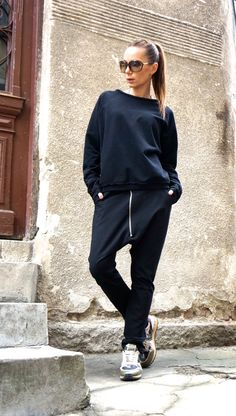 NEW Collection 2016 Loose Casual Black Drop Crotch Harem Pants /  Extravagant Black Pants/Unisex pants by AKASHA A05368