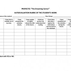 """PROYECTO: """"The Dreaming Corner""""AUTOEVALUATION RUBRIC OF THE STUDENT'S WORKName of the student: _____________________________________________ Class Group: __. http://slidehot.com/resources/rubrica-autoevaluacion-english.60060/"""