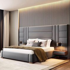 Contemporary bedroom interior design that very cozy 04 Room Design Bedroom, Luxury Bedroom Design, Bedroom Furniture Design, Bedroom Decor, Bed Headboard Design, Bed With Headboard, Modern Luxury Bedroom, Bedroom Ceiling, Bed Cushion Design