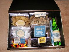 "long distance relationship idea -- send a cute personalized box of ""superhero"" food to the superhero in your life :) also LOVE this blog, its by a group of women and it has a lot about keeping relationships fun!"