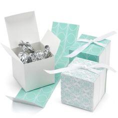 Aqua Damask Reversible Wrap Favor Boxes | Ann's Bridal Bargains