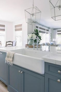 Project San Clemente Reserve // Kitchen: Before + After - Blue kitchen cabinets - Küchen Design, Interior Design, Design Ideas, Blue Kitchen Cabinets, Blue Kitchen Ideas, Blue Kitchen Decor, Grey Cabinets, Kitchen Modern, Kitchen Appliances