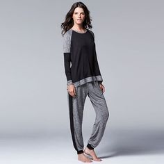 Women s Simply Vera Vera Wang Pajamas  Star Struck Marled Pajama Set Cozy  Clothes 5136d44c4