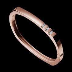 """Devotion Diamond Hinge Bracelet"" - 14-karat rose gold bracelet with six princess cut diamonds, 0.34 total carat weight."