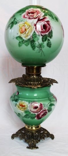 Wonderful Gone with the Wind Oil Lamp ~Hand Painted Masterpiece~ Breathtaking BEAUTY WITH HAND PAINTED ROSES ~ Outstanding Fancy Ornate Font Spill Ring and Base~ Original Condition ~Original Parts ~ Collector Piece ~ Master Artistry