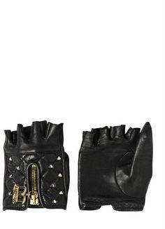 Studded Leather Fingerless Gloves