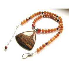 SUMMER SALE 20% OFF, Colorful Jasper Pendant Aventurine Necklace,... ($56) via Polyvore featuring jewelry, necklaces, sterling silver jewelry, brown necklace, boho necklace, pendant necklace and multi colored necklace