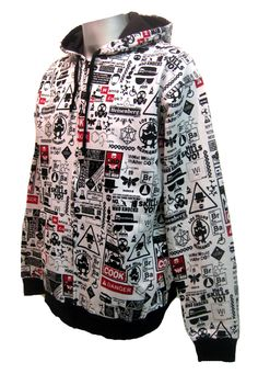 Breaking Chemical Hoody.  Warning...this hoody is 'Hazardous' ... Chemical inspired all over print hooded top. Cotton polyester mix. Black lined hood. Elasticated cuffs and waist. Front zip fastening. Available in 4 sizes from S-XL.  This hoody can keep you entertained for hours, with it's funny little captions! Definitely one for the scientist in the family!