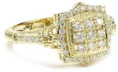"""Judith Ripka """"Diamond"""" Small Pave Square Ring"""