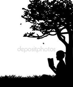 Descargar - Muchacha leyendo un libro bajo el árbol en primavera en el parque o jardín silhouette — Ilustración de stock #19416391