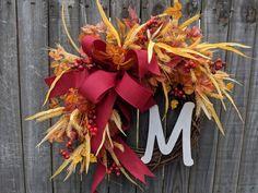 Fall / Autumn Wreath with Monogram Option, Fall Decoration, Fall Door Wreath, Fall Letter Wreath Autumn Wreaths, Holiday Wreaths, Wreath Fall, Letter Wreath, Silk Flower Wreaths, Door Wreaths, Burlap Wreaths, Fall Door Decorations, Wreath Hanger
