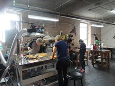 encaustic studio… nice vent and arm lights. love the tables on wheels, but  maybe to tall for me to work