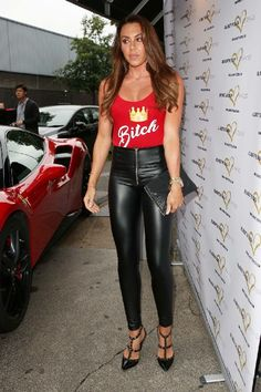 Michelle Heaton attends Ester Dee 'All About the Beach' launch party Leather Pants Outfit, Black Leather Dresses, Leather Trousers, Wet Look Leggings, Shiny Leggings, Leggings Are Not Pants, Leder Outfits, Hot Outfits, Looks Cool