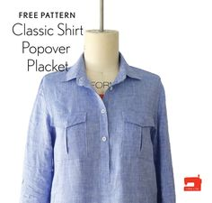 Ever wanted to sew the Liesl + Co. Classic Shirt as a pop-over instead of button-front style? Now you can with this free popover placket pattern piece and tutorial. Sewing Patterns For Kids, Dress Sewing Patterns, Techniques Couture, Sewing Techniques, Shirts & Tops, Button Shirts, Sewing Alterations, Sewing Lessons, Sewing Basics