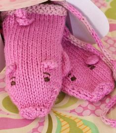 Free Knitting Pattern for Piglet Mittens - These pig inspired mittens come in six sizes Child's S,M,L and Women's S,M,L. Designed by SpillyJane. Pictured project by annypurls