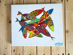 tableau de poissons naïfs couleurs vives ,ces poissons sont disposés dans toutes les directions et se superposent sur : Peintures par le-poissonchat
