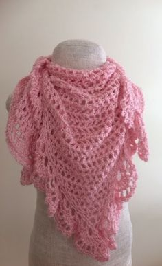 Pink Lace Crochet Triangle Shawl | AllFreeCrochet.com