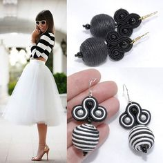 Soutache earrings black and white stripes Handmade Beaded Jewelry, Handmade Art, Soutache Jewelry, Clay Flowers, Beading Projects, Fabric Jewelry, Beaded Embroidery, Beaded Earrings, Jewelery