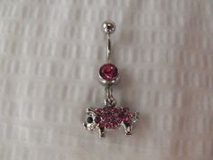 Belly Button Navel Ring Pink Rhinestone Pig by AGothShop on Etsy, $12.50