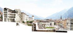 Piazza della Mostra | Campomarzio Architectural Section, Architectural Drawings, Presentation Design, Architectural Presentation, Sectional Perspective, Urban Design Diagram, Urban Planning, Facade, Architecture Illustrations