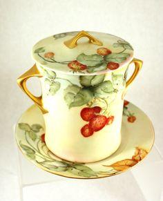 Antique Condensed Milk Ceramic Container Hand Painted Strawberries Bavarian