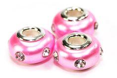 Pink Clay Rhinestone Pandora Beads