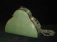 Vintage Chanel shagreen leather bag.  Shagreen is Shark's skin.  It's real not faux
