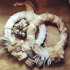 Burlap wreath. In shop this week. . www.facebook.com/recycledrelicsandantiquechic