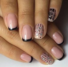 Two-colors nail art: pink and black French nails #beautynails