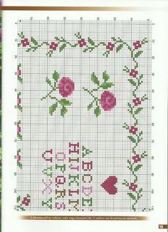 Cross Stitch Boarders, Cross Stitch Heart, Cross Stitch Samplers, Cross Stitch Flowers, Cross Stitch Designs, Cross Stitch Patterns, Cross Stitches, Ribbon Embroidery, Cross Stitch Embroidery