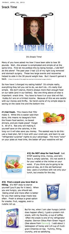 In the Kitchen with Katie: Snack Time on Kater's Acres Blog -- We my hubby & I are eating to help aide our weight loss.