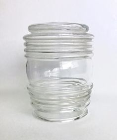 Details About Vtg Clear Glass Ribbed Jelly Jar Replacement Light Fixture  Sconce Shade Globe