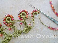 17 Best images about Oya (Turkish Crochet Lace Edging, Crochet Borders, Bead Crochet, Crochet Flowers, Crochet Stitches, Crochet Necklace, Pixel Crochet, Crochet Home, Irish Crochet